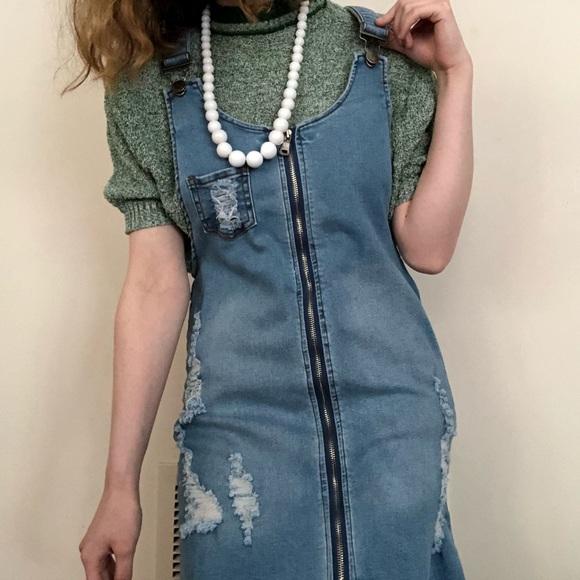 American Bazi Dresses & Skirts - American Bazi distressed and short overall dress